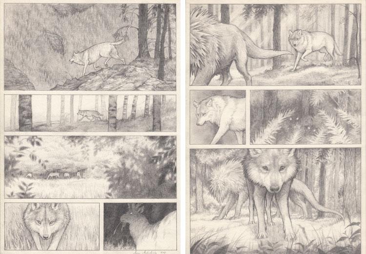 """Anna Andruchowicz, rysunki ołówkiem do komiksu """"W obcej skórze""""."""