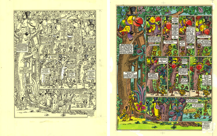 Rysunek tuszem oraz blaudruk i diapozytyw Tadeusza Baranowskiego.