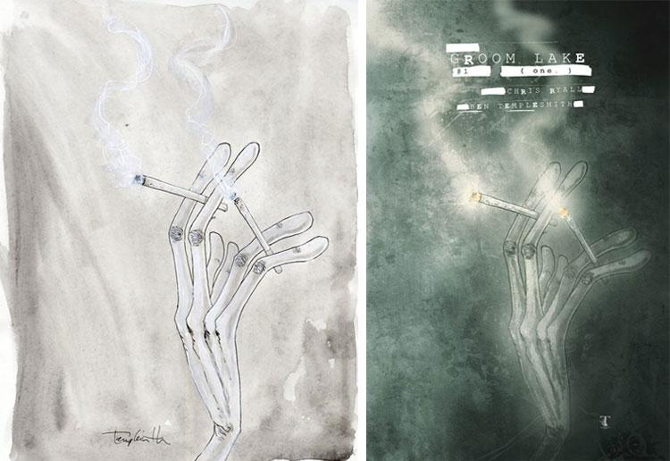 Ben Templesmith, Groom Lake 1 (okładka, wersja B).