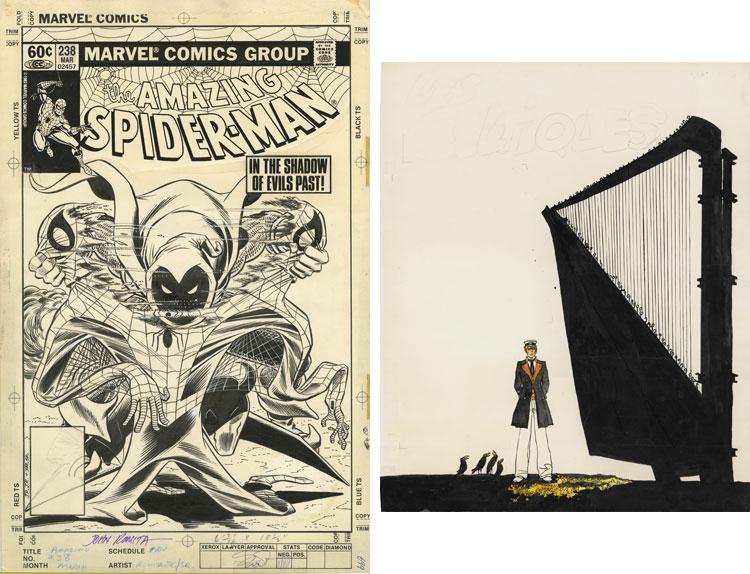 Okładka do Amazing Spider-man oraz praca Hugo Pratta z okładki katalogu Sotheby's.